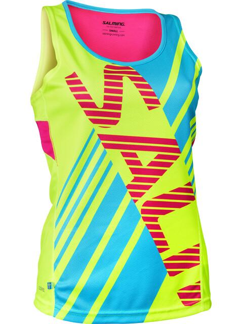 Salming Race Hardloopshirt zonder mouwen Dames geel/blauw